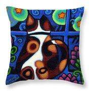 Cat At Window Throw Pillow by Genevieve Esson
