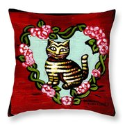 Cat In Heart Wreath 2 Throw Pillow by Genevieve Esson