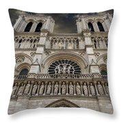 Cathedral Notre Dame of Paris. France   Throw Pillow by BERNARD JAUBERT