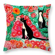 Cats And Roses Throw Pillow by Sushila Burgess