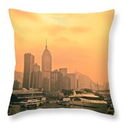 Causeway Bay At Sunset Throw Pillow by Loriental Photography
