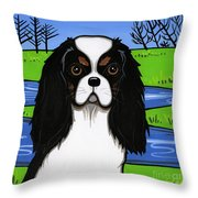 Cavalier King Charles Spaniel Throw Pillow by Leanne Wilkes