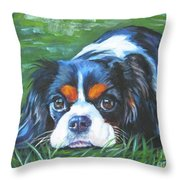Cavalier King Charles Spaniel Tricolor Throw Pillow by Lee Ann Shepard