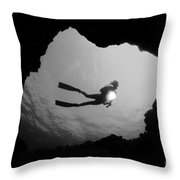 Cave Diver - Bw Throw Pillow by Dave Fleetham - Printscapes