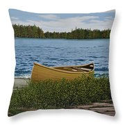 Cedar Canoe Throw Pillow by Kenneth M  Kirsch