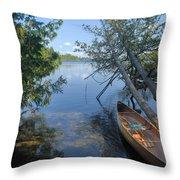 Cedar Strip Canoe And Cedars At Hanson Lake Throw Pillow by Larry Ricker