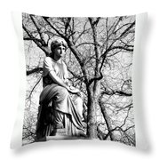 Cemetary Statue B-w Throw Pillow by Anita Burgermeister