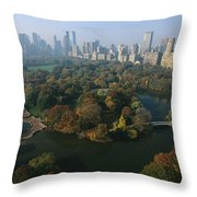 Central Parks Bethesda Fountain Throw Pillow by Melissa Farlow