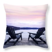 Chairs On Lake Dock Throw Pillow by Elena Elisseeva
