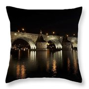 Charles Bridge At Night Throw Pillow by Michal Boubin