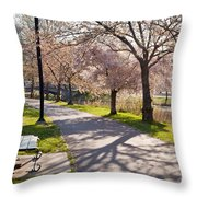 Charles River Cherry Trees Throw Pillow by Susan Cole Kelly