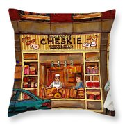Cheskies Hamishe Bakery Throw Pillow by Carole Spandau