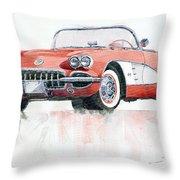 Chevrolet Corvette C1 1960  Throw Pillow by Yuriy  Shevchuk