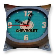 Chevy Neon Clock Throw Pillow by Rob Hans