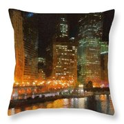 Chicago at Night Throw Pillow by Jeff Kolker