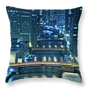 Chicago Bridges Throw Pillow by Steve Gadomski