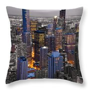Chicago Loop Sundown Bw Color Blend Throw Pillow by Steve Gadomski