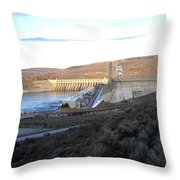 Chief Joseph Dam Throw Pillow by Will Borden