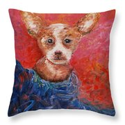 Chihuahua Blues Throw Pillow by Nadine Rippelmeyer