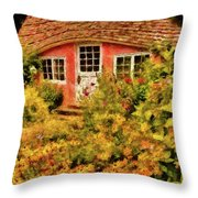 Children - The Children's Cottage Throw Pillow by Mike Savad
