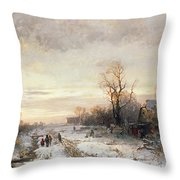 Children Playing In A Winter Landscape Throw Pillow by August Fink