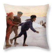 Children Skating Throw Pillow by Percy Tarrant