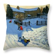 Children Sledging Throw Pillow by Andrew Macara