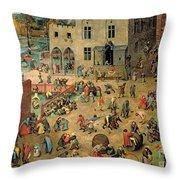 Children's Games Throw Pillow by Pieter the Elder Bruegel