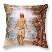 Christ Baptised By John The Baptist Throw Pillow by William Brassey Hole