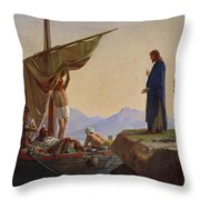 Christ Calling The Apostles James And John Throw Pillow by Edward Armitage