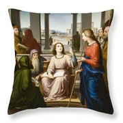Christ Disputing With The Doctors In The Temple Throw Pillow by Franz von Rohden