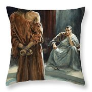 Christ In Front Of Pontius Pilate Throw Pillow by Henry Coller