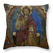 Christ Pantocrator Fresco. Basilica Saint-julien. Brioude. Haute Loire. Auvergne. France. Throw Pillow by Bernard Jaubert