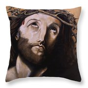 Christ With Crown Of Thorns Throw Pillow by Laura Ury