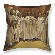 Christ With The Twelve Apostles Throw Pillow by Tissot