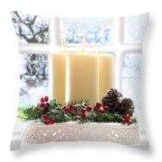 Christmas Candles Display Throw Pillow by Amanda Elwell