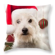 Christmas Elf Dog Throw Pillow by Edward Fielding