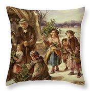 Christmas Morning Throw Pillow by Thomas Falcon Marshall