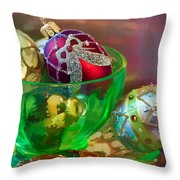 Christmas Ornaments Throw Pillow by June Marie Sobrito