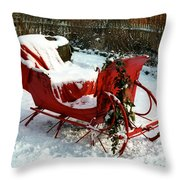 Christmas Sleigh Throw Pillow by Andrew Fare