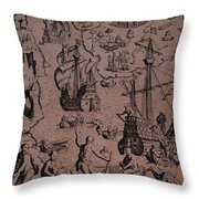 Christopher Colombus Discovering The Islands Of Margarita And Cubagua Where They Found Many Pearls Throw Pillow by Spanish School