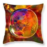 Chromatic Floral Sphere Throw Pillow by Robin Moline