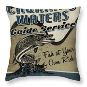 Churning Waters Guide Service Throw Pillow by JQ Licensing
