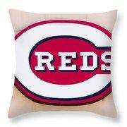 Cincinnati Reds Logo Sign Throw Pillow by Paul Velgos