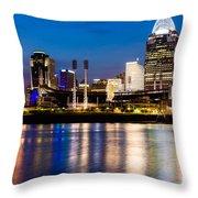 Cincinnati Skyline at Night  Throw Pillow by Paul Velgos
