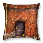 City - Door - The Back Door  Throw Pillow by Mike Savad