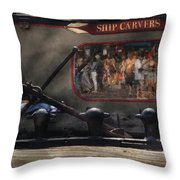 City - Ny South Street Seaport - Ship Carvers Throw Pillow by Mike Savad