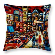 City At Night Downtown Montreal Throw Pillow by Carole Spandau