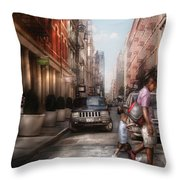 City - Ny - Walking Down Mercer Street Throw Pillow by Mike Savad