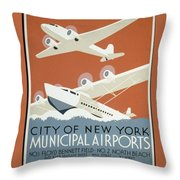City Of New York Municipal Airports Throw Pillow by Christopher DeNoon